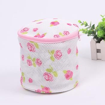 Róża drukowanie worek do prania pranie biustonosz skarpetki bielizna zapinana na zamek bielizna worek na pranie torba na pranie worek na pranie na ubrania narzędzia do prania tanie i dobre opinie CN (pochodzenie) Duszpasterska nylon 15cm(D)x16cm(H) Nylon+Plastic dropshipping