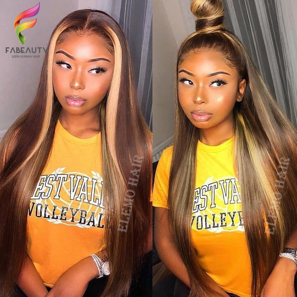 Ombre Blonde Lace Front Human Hair Wig 150% Brazilian Straight 13*4 Lace Wigs Pre Plucked 4/27 Honey Blonde Remy Wig