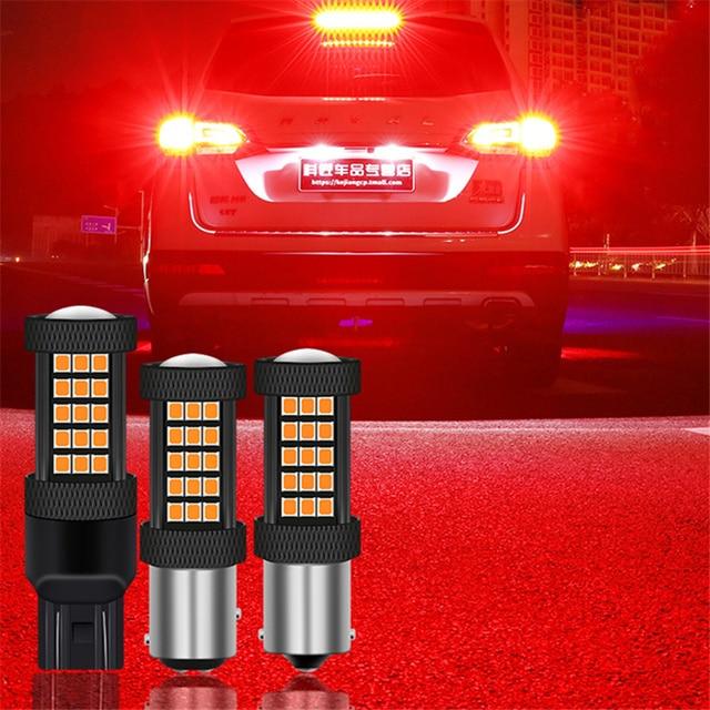 1 PC Car LED Lights Red Strobe Flash Auto Brake Light 1157 BAY15D T20 7443 LED Bulbs 1156 BA15S P21W For Brake Reverse Light 12V 1