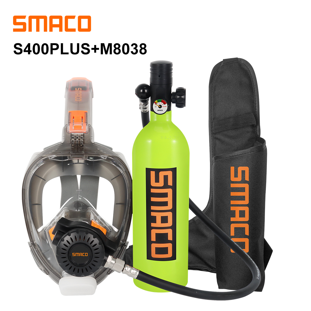 SMACO Mini Scuba Diving Tank and Diving Mask Combination, Free Breathing Underwater for 16 Minutes(China)