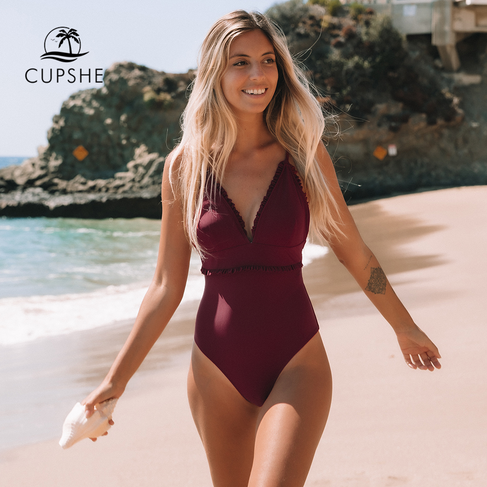 CUPSHE Solid Wine Red Ruffled Trim One-Piece Swimsuit Sexy V-neck Straps Women Monokini 2020 Girl Beach Bathing Suit Swimwear