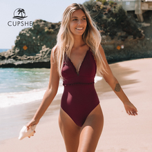 CUPSHE Solid Wine Red Ruffled Trim One Piece Swimsuit Sexy V neck Straps Women Monokini 2020 Girl Beach Bathing Suit Swimwear