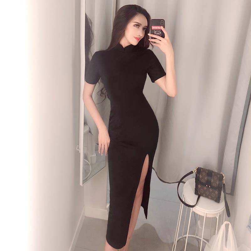 2020 Chinese Party Dress Chinese Dress Sexy Cheongsam Long Robe Bodycon Satin Qipao Dress High-sloping Fork Mandarin Collar