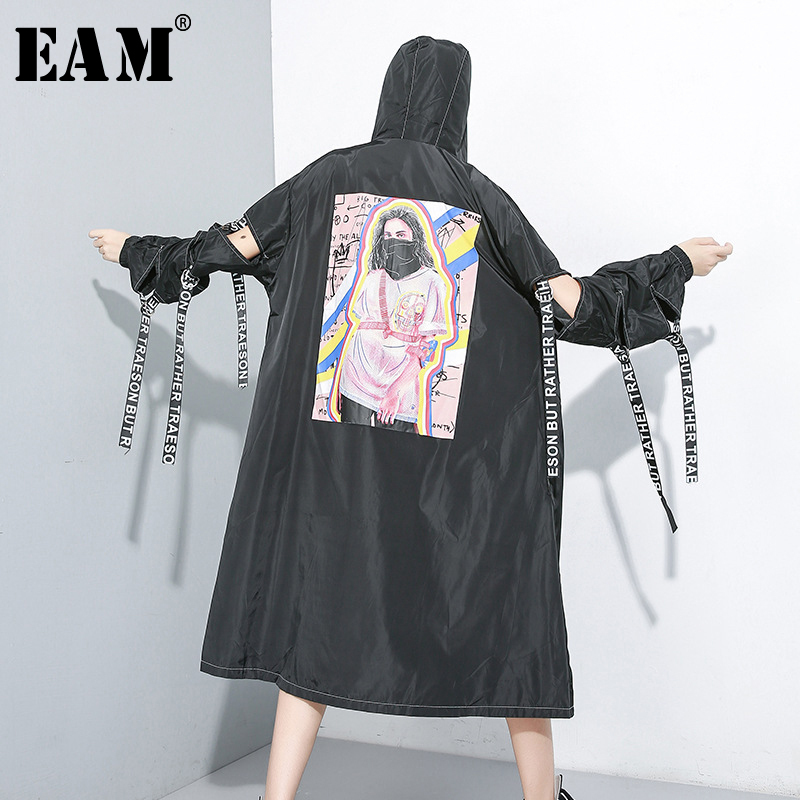 [EAM] Women Print Hollow Out Bandage   Trench   New Hooded Long Sleeve Loose Fit Windbreaker Fashion Tide Autumn Winter 2019 1A824