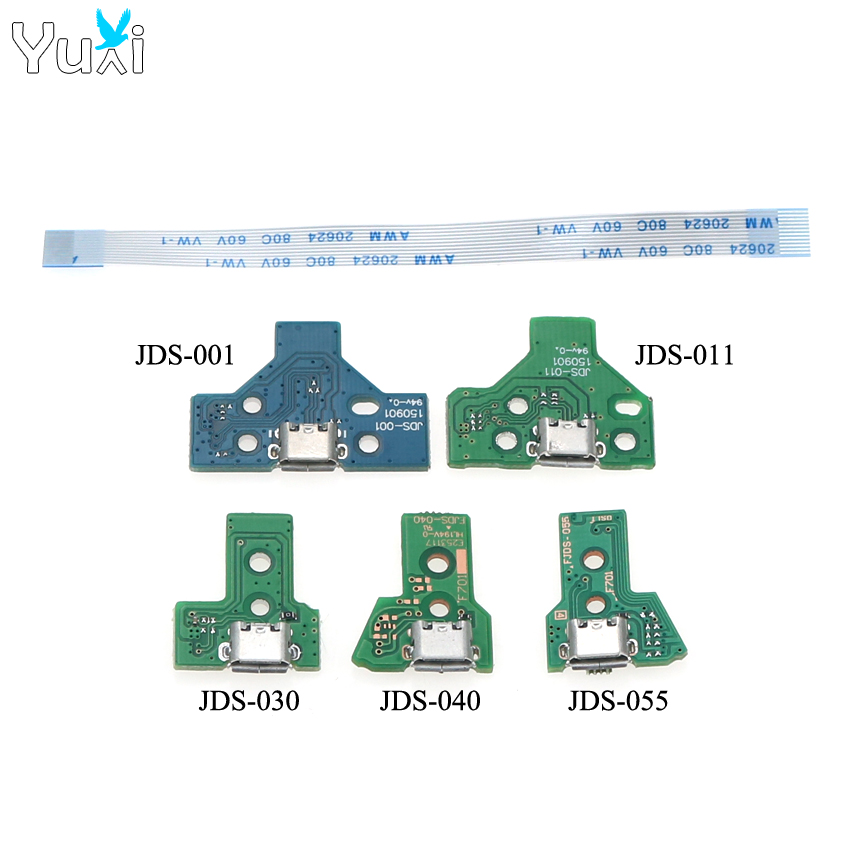 YuXi For PS4 Pro Slim Controller Charging Socket Port Circuit Board JDS 001 011 030 040 055 With 12 14 Pin Power Flex Cable