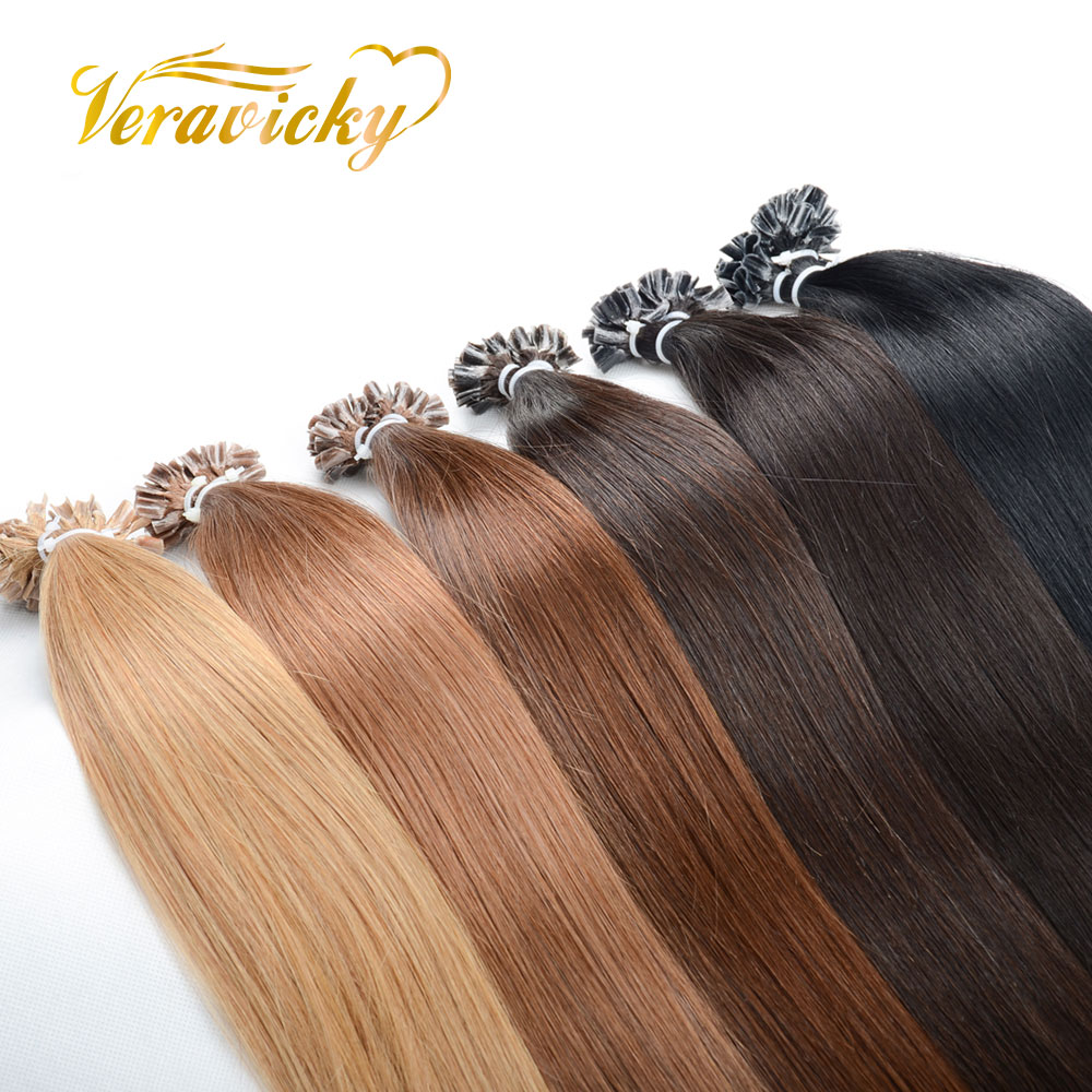 Fusion Keratin Bond Human Hair Extensions Machine Made Remy U Nail Tip Straight Natural Colored Pre Bonded Human Hair On Capsule