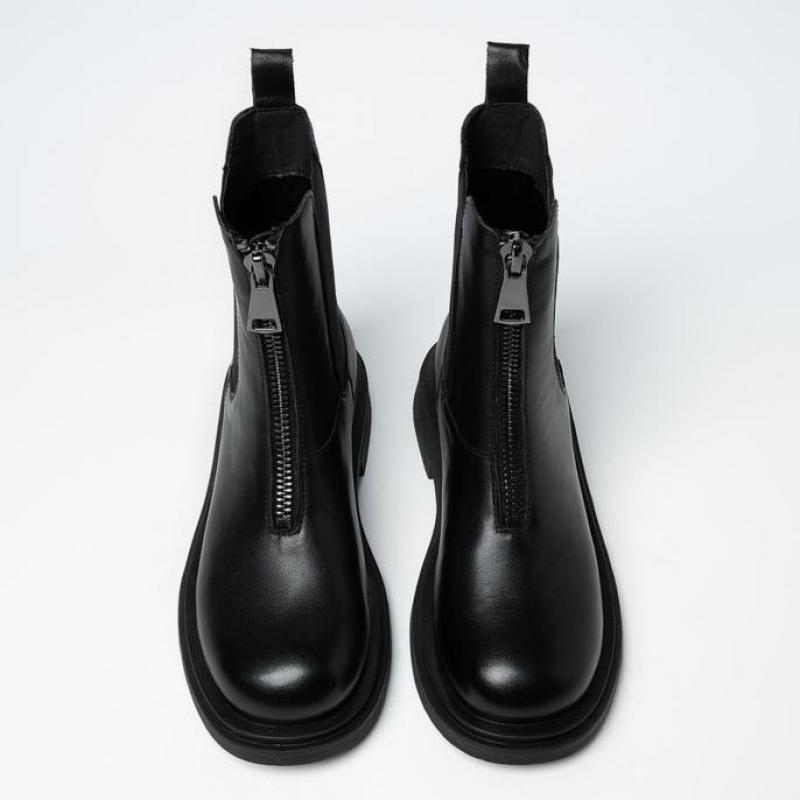 2020 Fashion Boots Women Autumn Boots Ladies Platform Zippers Black Boots Women Shoes Botas Mujer Round Toe Chelsea Boots