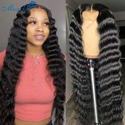 30 Polegada malaio solto onda profunda peruca 4x4 perucas de fechamento do laço para preto women180 densidade remy encaracolado peruca dianteira do laço pré arrancado