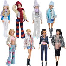 Fashion Doll Party Clothes Elegant Blouse Four Seasons Casual Wear Suit for Barbie Doll Trousers Clothes Accessories Girls Gift e ting handmade fashion doll clothes winter clothing rose coat jacket skinny star print jean girls suit for barbie accessories