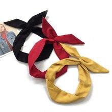 Bandeau rétro en daim pour femmes, oreilles de lapin, couleur unie, fil métallique, nœud papillon croisé, accessoires pour cheveux, printemps