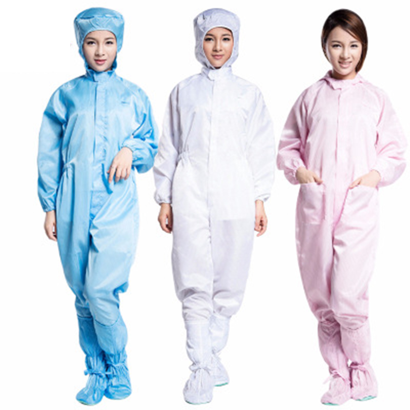 1-Piece Isolation Suit Hooded Dust Free Work Clothes Coveralls Men Women Laboratory SP99