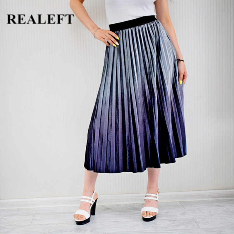 REALEFT Autumn Women Velvet Elegant Pleated Long Skirts Gradient High Waist Harajuku Tulle A-Line Mid-Calf Skirts for Female