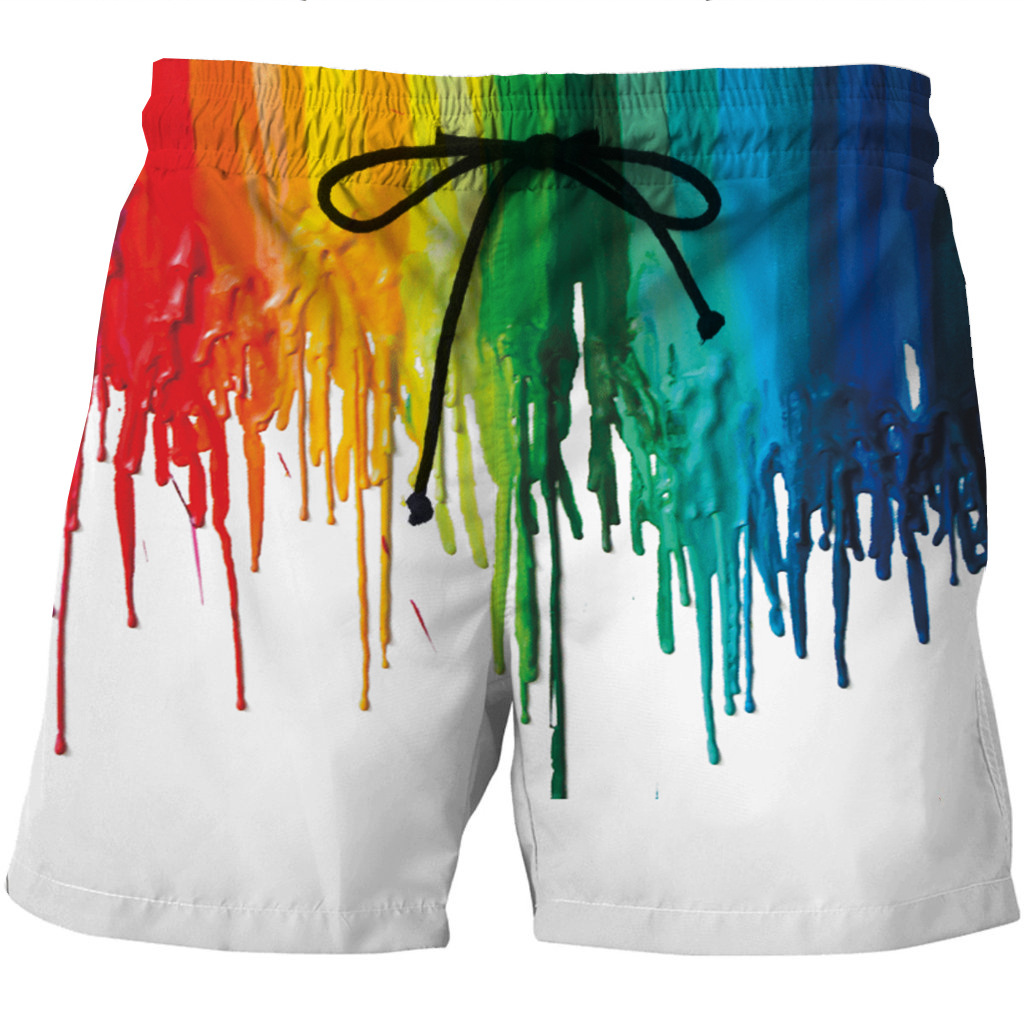 Men's Quick-drying Beach Shorts 3D Creative Printed Casual Side Pocket Shorts