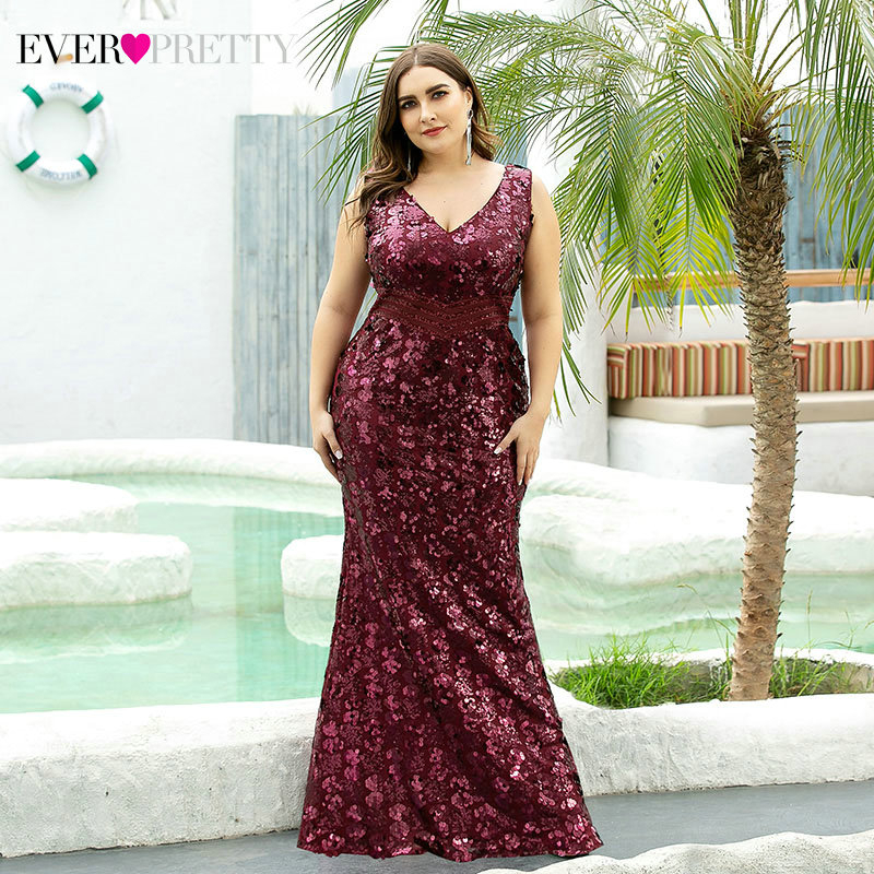 Plus Size Luxury Prom Dresses Ever Pretty EP07872BD Sequined Sleeveless Double V-Neck Sparkle Mermaid Party Gowns Abendkleider