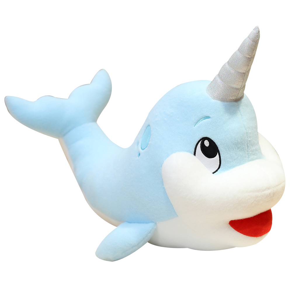 Lovely Teal Narwhale Stuffed Animal <font><b>Whale</b></font> Cute Plush Toy Animals <font><b>Plushies</b></font> Toys Kawaii Soft Plushie for Children AP image