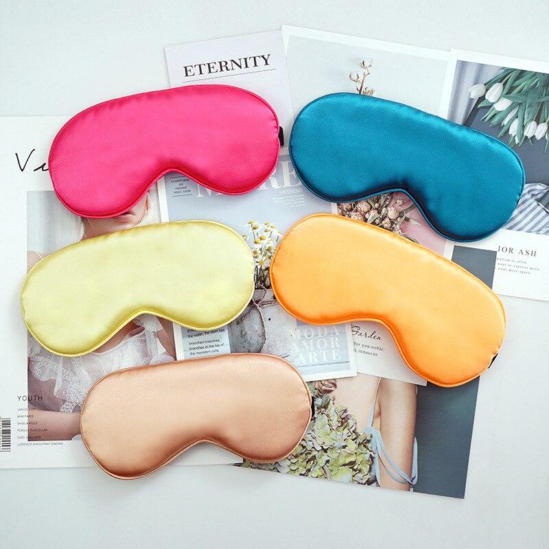 1pcs Eye Cover Silk Sleep Eye Mask Sleeping Padded Shade Patch Eyemask Blindfolds Women Men Travel Relax Rest 2