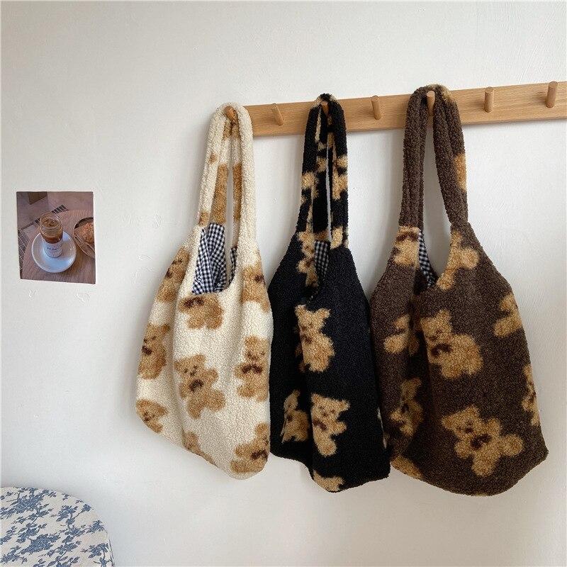 Frauen Lamm Wie Stoff Schulter Tasche Leinwand Flauschigen Fell Bär Handtaschen Große Kapazität Weichen Einkaufs Taschen Mädchen Nette Schule tasche