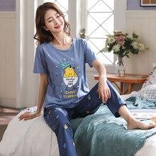 ฤดูใบไม้ผลิผู้หญิงชุดนอนแขนสั้น Pijama หญิงชุดนอนชุด 5XL ชุดนอนผ้าฝ้ายชุดนอนผู้หญิงชุดนอน Homewear Sleep Lounge