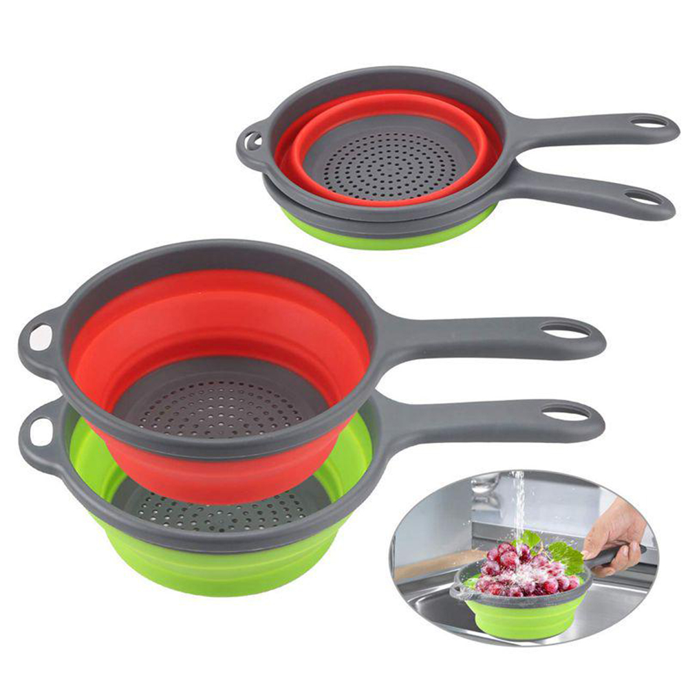 Folding Drain Basket Strainer Fruit Vegetable Washing Basket Strainer With Handle Folding Silicone Strainer Kitchen Organizer