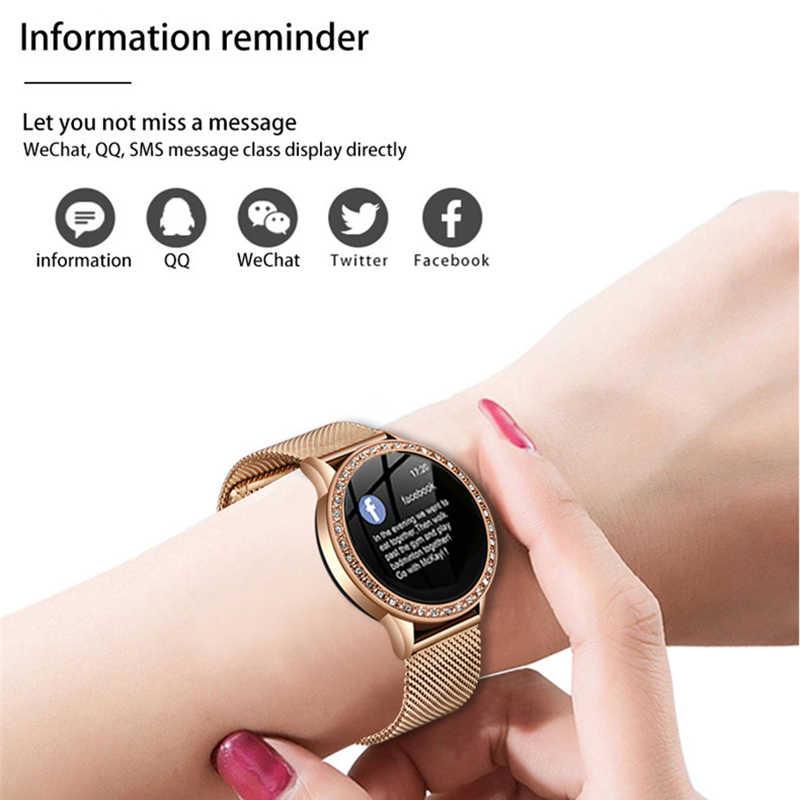 جديد الماس المرأة حجر الراين الساعات سيدة اللباس النساء ساعة ذكية الذهب قذيفة للماء smartwatch مراقب معدل ضربات القلب ل فون