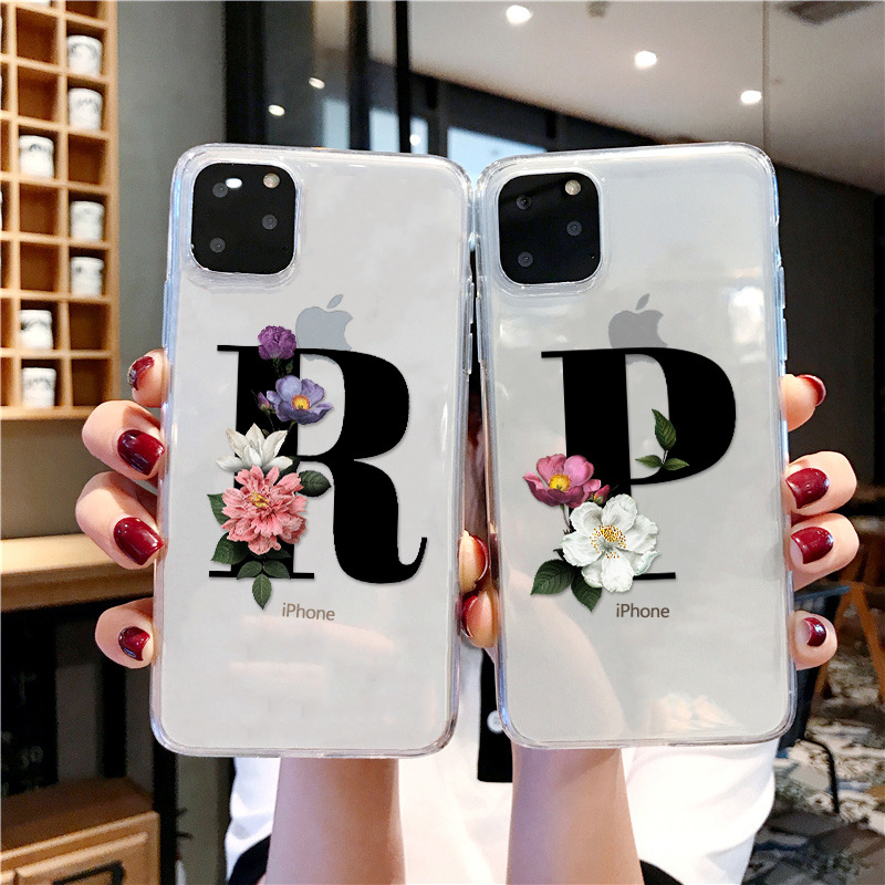Fashion Customized Initial Letter Soft Clear TPU Phone Case For IPhone XS 11 Pro Max 7 8 6s Plus XR X Transparent Silicone Cover