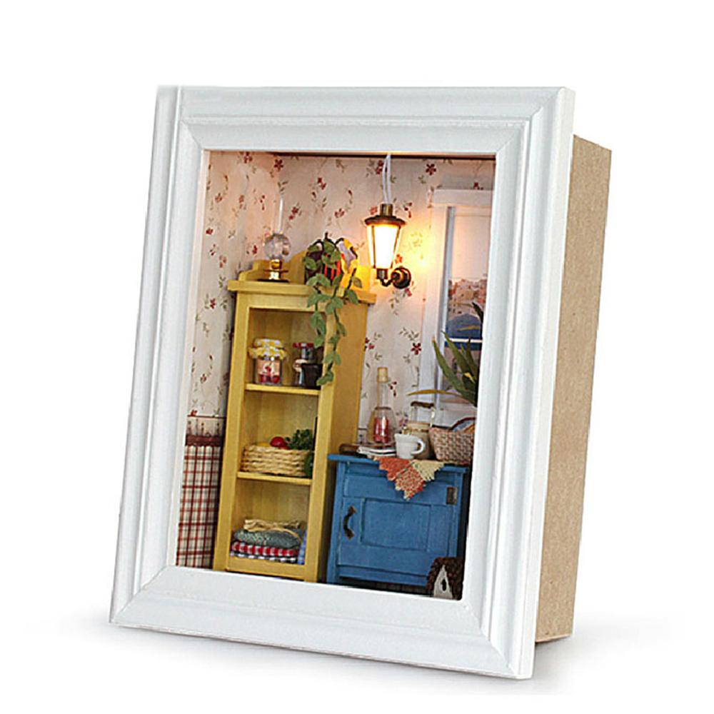 DIY Miniature Dollhouse Kit Photo Frame House Crafts Making Accessories