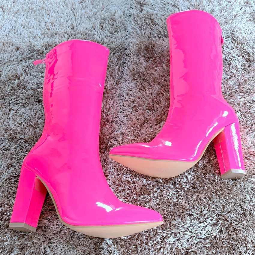 ผู้หญิงสิทธิบัตรหนังรองเท้ารองเท้าฤดูใบไม้ร่วงฤดูหนาวผู้หญิงหิมะรองเท้าผู้หญิงรองเท้าส้นสูงรองเท้าผู้หญิงยาว Lady Chaussure