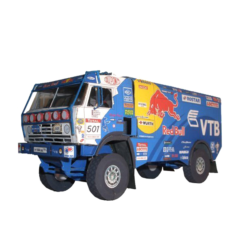 Kamaz 4326-9 2009 Truck 1:53 Dakar Rally Folding Cutting Mini 3D Paper Model Papercraft DIY Adult Handmade Craft Toys ZX-041