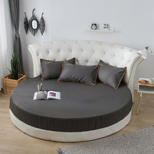 Algodão lençol equipado com faixas elásticas roupa de cama para colchão redondo capa cor sólida única rainha tamanho preto branco colcha