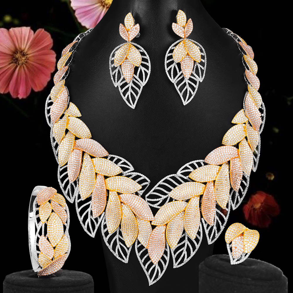 Nigerian African Zircon Wedding Elegant Leaf Feather Necklace Bracelet Earrings Ring Jewelry set High Quality 2020 New Fashion