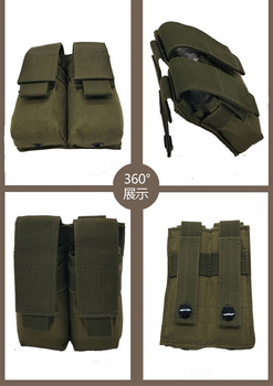 CQC Molle System Tactical Pistol Double Magazine Pouch Molle Clip 9MM Military Airsoft Mag Holder Bag Hunting Accessories 6