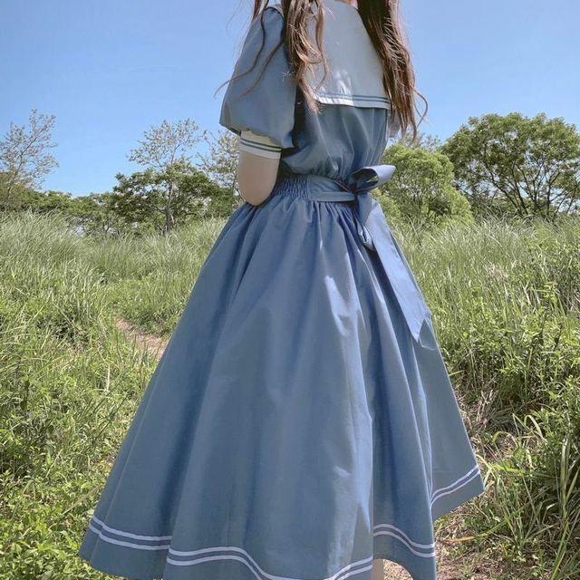QWEEK Navy Sailor Collar Dress Mori Girl Harajuku Sundress Japan Style Sweet Lolita Style Kawaii Cute Dress Princess Elegant 4