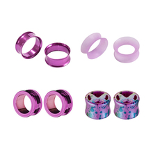 8pcs/set Acrylic Stainless Purple Butterfly Ear Expander Enlargement Fashion Earpin For Body Piercing Jewelry