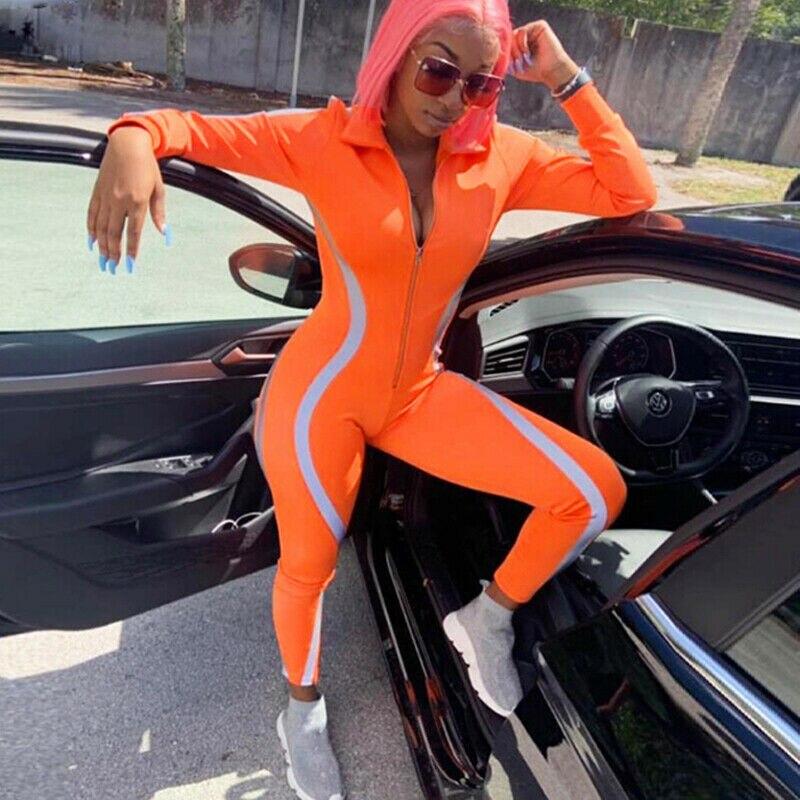 Women's Solid orange Autumn Zipper Reflective Playsuit Long Sleeve Jumpsuit Romper Trousers Pants Tracksuit 3 Colors