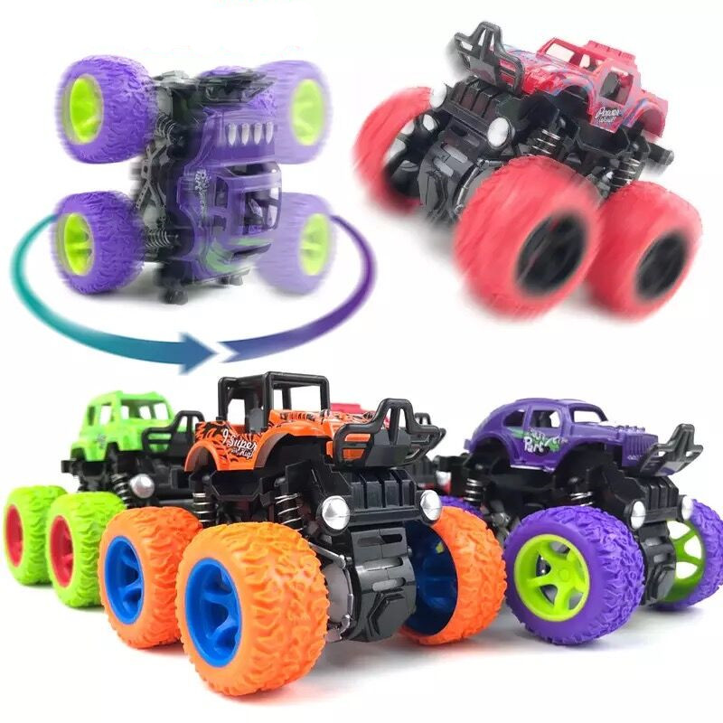 New Mini Inertial Off-Road SUV Vehicle Juguetes Carro Four-Wheel-Drive Plastic Children Toy Car Friction Stunt Car For Kids Boys