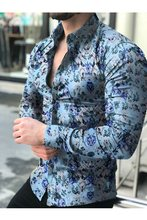 Camisa de manga larga para hombre. Top2021.. blusa Floral para hombre. Camisas informales de camisas hawaianas de verano y