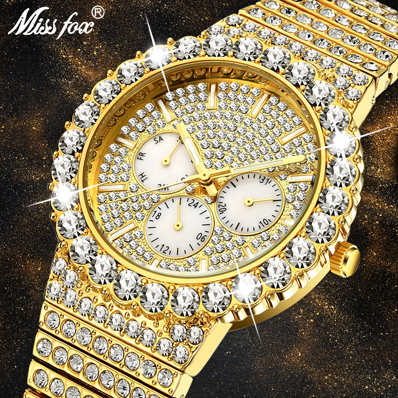 MISSFOX Men's Watches Big Rainbow Luxury Brand 18k Gold Fashion Wrist Watch Men Top Selling Iced Out Quartz Wristwatch Gift 2020
