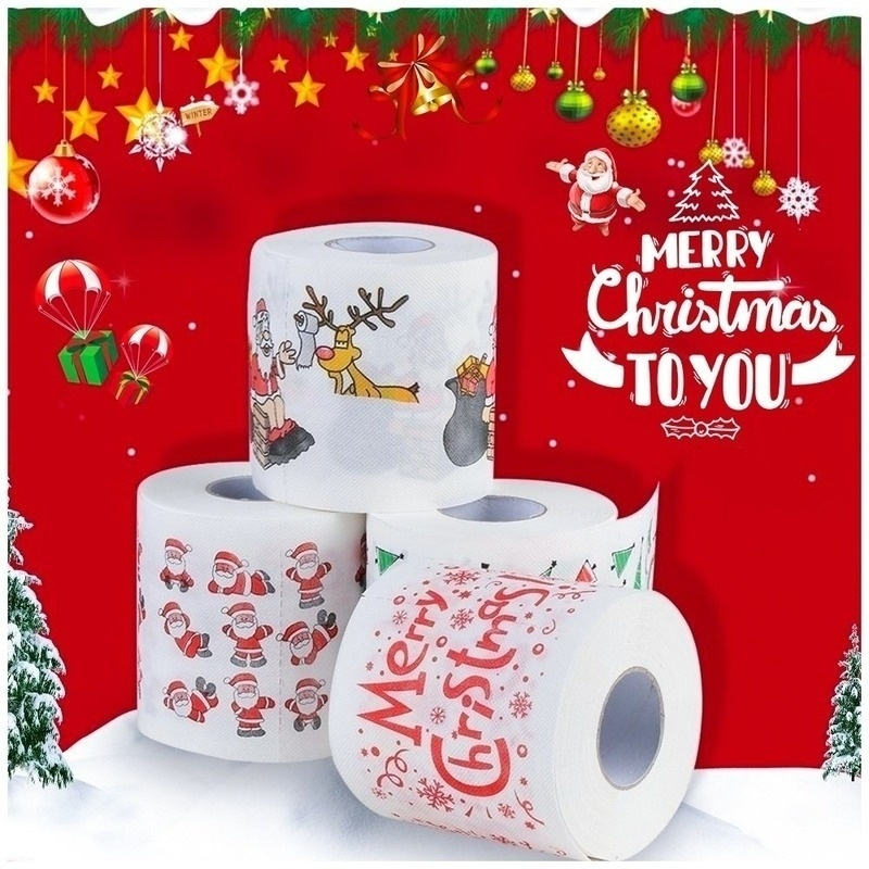 Bath Paper Christmas Printed Home Santa Claus Bath Toilet Roll Paper Christma Supplies Xmas Decor Tissue 8/25M Toilet Paper