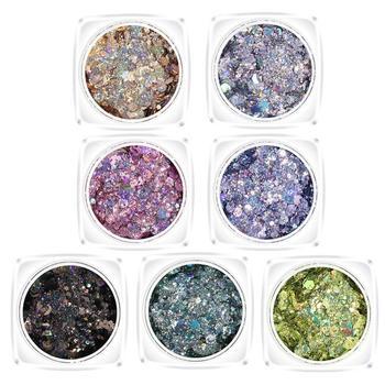 Nuevas ollas de purpurina redondas de colores con purpurina híbrida de 2 uds, polvo de brillo luminoso de uñas para la cara y el cuerpo