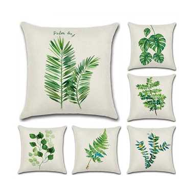 Tropical Plants Palm Leaf Green Leaves Cushion Covers Hibiscus Flower Cushion Cover Decorative Beige Linen Pillow Case silicone shampoo scalp hair massager shampoo massage comb bath massage brush scalp massager hair shower brush comb care tool