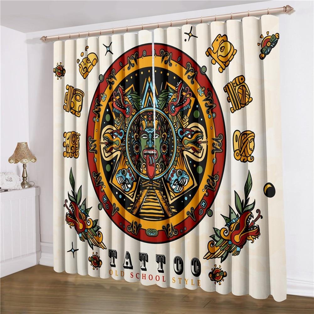Ancient Civilization Window Curtain 2 Panels Cartoon Window Treatment 3D Print Indian Maya Curtain For Living Room Window Drapes