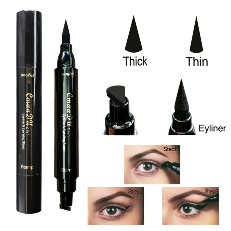 Girls Sexy Eye Makeup Double Head Black Quick Dry Waterproof Long Lasting Vamp Stamp Tool New Wing Style Women Kitten Eyeliner