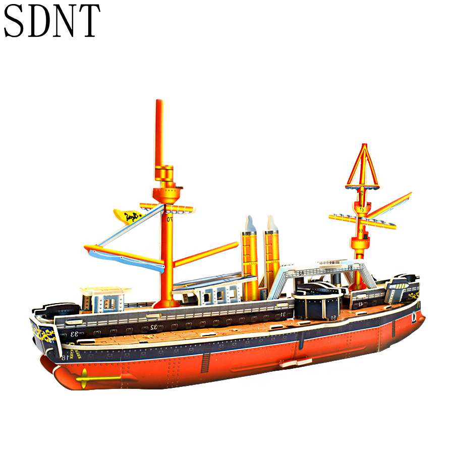 Warships Puzzle Toys For Children 3D Cardboard Ancient Ship Model Kits Educational Puzzles Toy Handmade Assembly Game Decoration
