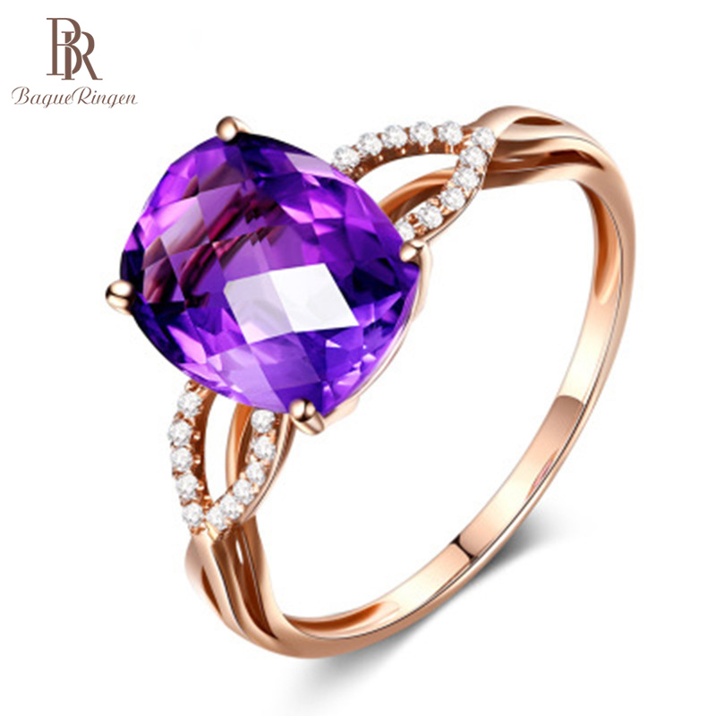 Bague Ringen Sterling Silver 925 Ring for Women Geometry Amethyst Fine Jewelry Gemstones Trendy Party Ring Opening Adjustable