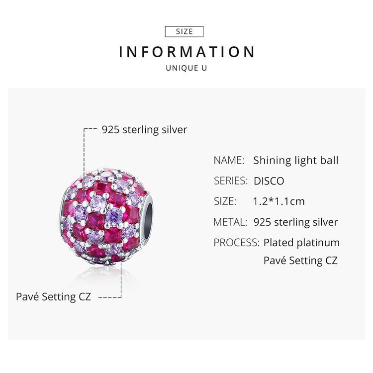 silver 925 Sterling Silver Shining Light Ball Charms Round Beads fit Original Bracelet & Bangle Women Luxury Brand Jewelry