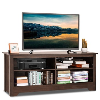 "Goplus 58"" TV Stand Entertainment Media Center Console Wood Storage Furniture Espresso Home Furniture HW63332"