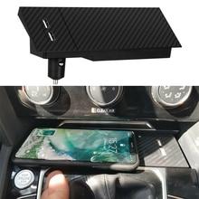 10W QI kablosuz şarj telefon şarj cihazı kablosuz mobil şarj cihazı şarj pate aksesuarları VW Passat B8 CC Arteon için iPhone