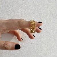 Anillos de dedo de Metal con diseño Floral dorado para mujer, joyería francesa romántica, moda coreana, 14k, sortijas de flores chapadas en oro