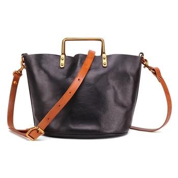 Handmade Shoulder-Slung Back Portable Female Ladies Leather Vegetable Tanned Cowhide Bag in the Bag Tote Bag Retro Child
