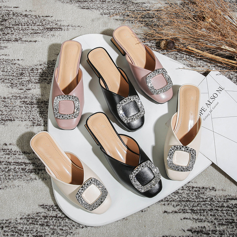 Baotou Slippers Female Summer 2020 New Fashion Outer Wear Chunky-Heel Mule Shoes Large Size Woman Slippers